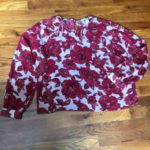 Red floral blouse F21 forever 21